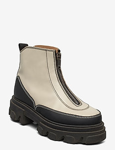 Zipper Boot - niski obcas - egret