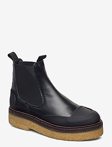 Smooth Calf - platta ankelboots - black