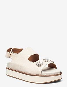 Juta - platta sandaler - egret