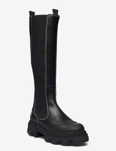 Calf Leather - höga stövlar - black