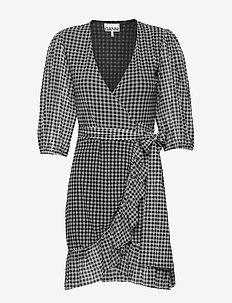 Printed Mesh - robes portefeuille - black