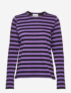 Striped Cotton Jersey - DEEP LAVENDER