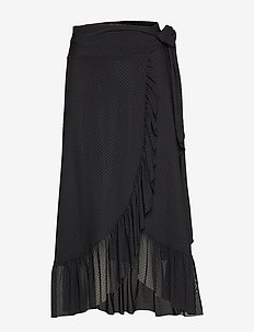 Dot Mesh - midi skirts - black
