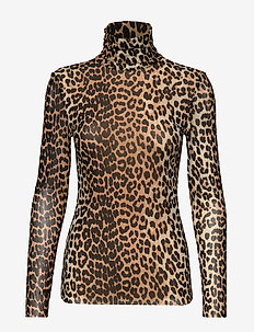 Printed Mesh - long sleeved blouses - leopard