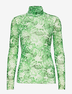 Printed Mesh - long-sleeved tops - island green