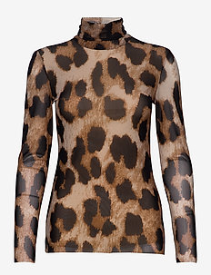 Printed Mesh - long-sleeved tops - maxi leopard