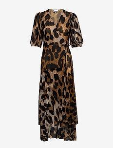 Printed Mesh - slå-om-kjoler - maxi leopard