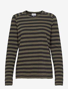 Striped Cotton Jersey - langærmede toppe - kalamata