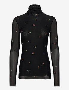 Printed Mesh - pitkähihaiset t-paidat - black