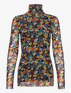 Printed Mesh - langærmede bluser - multicolour