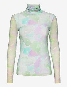 Printed Mesh - langærmede bluser - bright white