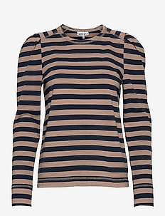 Striped Cotton Jersey - langærmede toppe - sky captain