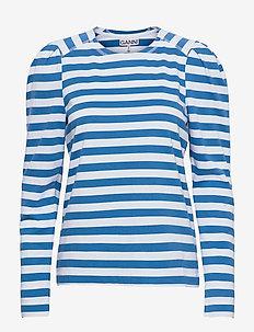 Striped Cotton Jersey - langærmede toppe - bright white