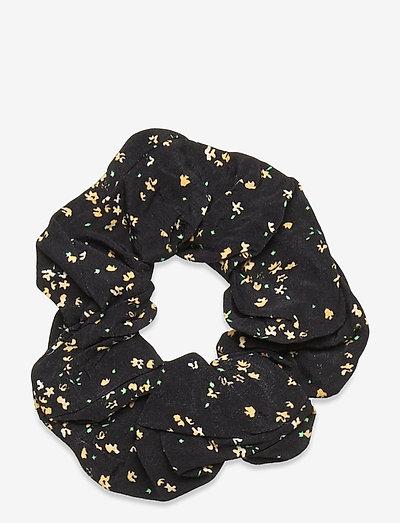 Printed Crepe - scrunchies - black