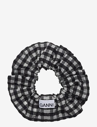 Seersucker check - scrunchies - black