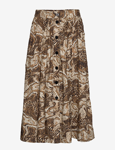 Printed Cotton Poplin - maxi nederdele - tiger's eye