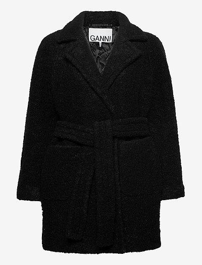 Boucle Wool - wool jackets - black