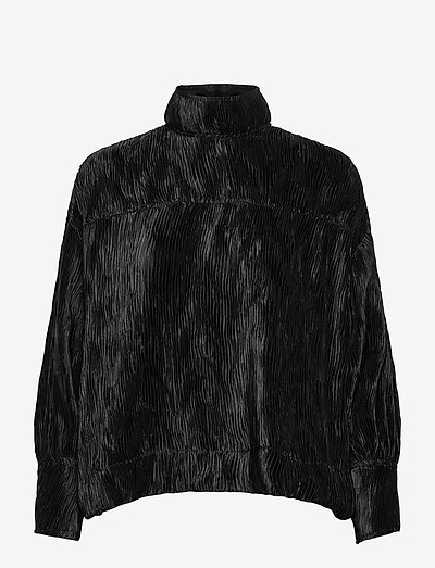 Pleated Satin - long sleeved blouses - black