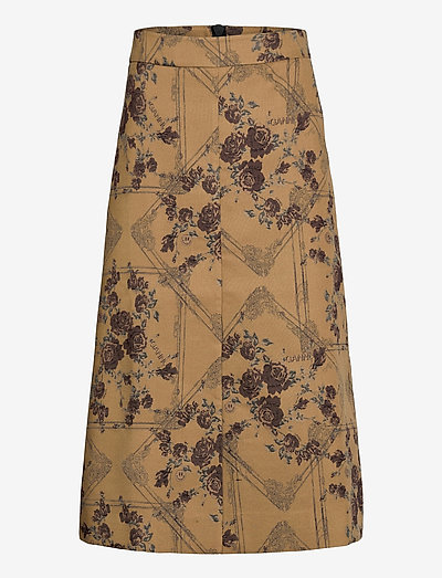 Brocade Jacquard - midinederdele - tiger's eye