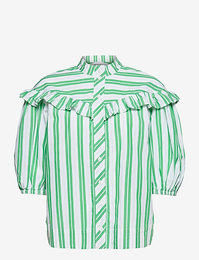 Stripe Cotton - short-sleeved shirts - kelly green