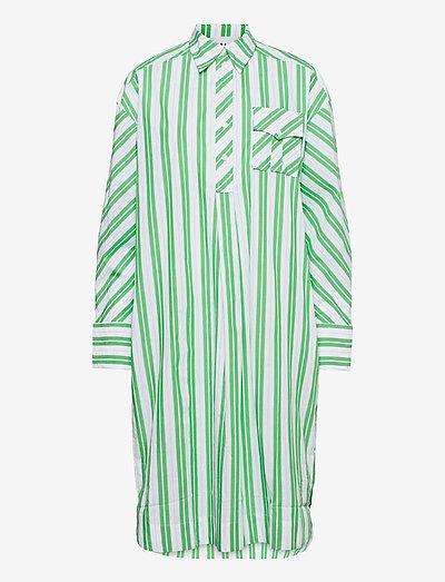 Stripe Cotton - midi dresses - kelly green
