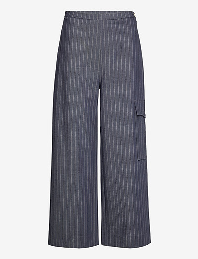 Highwaisted Cropped Pants - wide leg trousers - dress blues