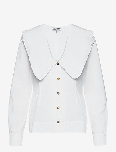 Cotton Poplin - langærmede bluser - bright white