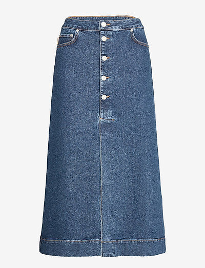 Midi Skirt - denim skirts - medium indigo