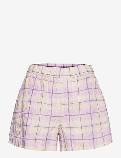 Seersucker Check - casual shorts - orchid bloom