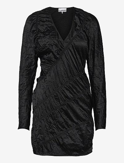 Crinkled Satin - cocktailklänningar - black