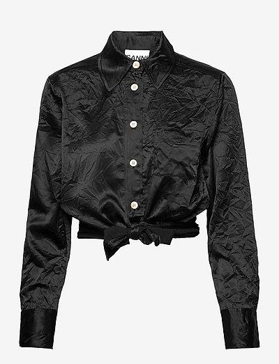 Crinkled Satin - langærmede bluser - black
