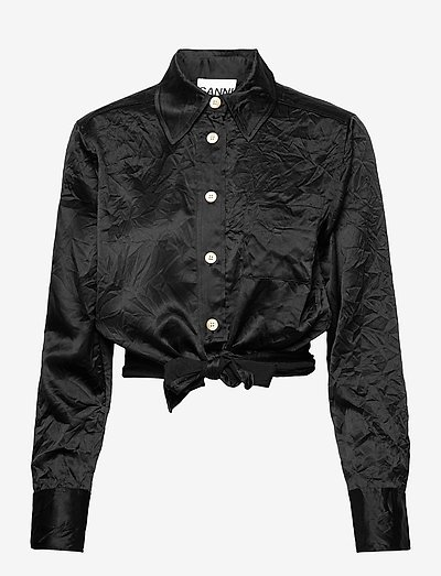 Crinkled Satin - långärmade blusar - black