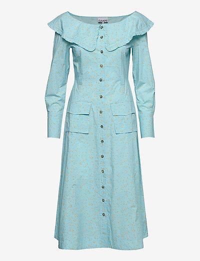 Printed Cotton Poplin - sommerkjoler - corydalis blue