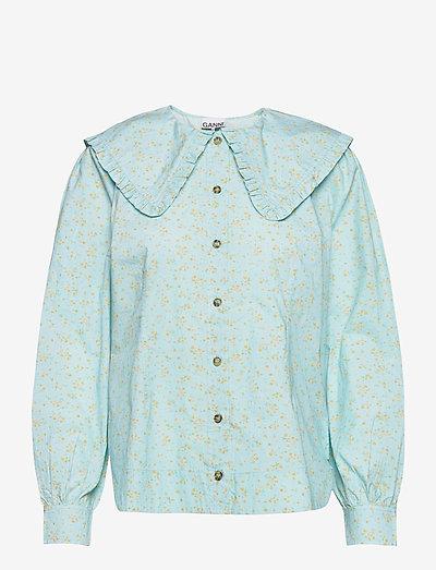 Printed Cotton Poplin - langærmede bluser - corydalis blue
