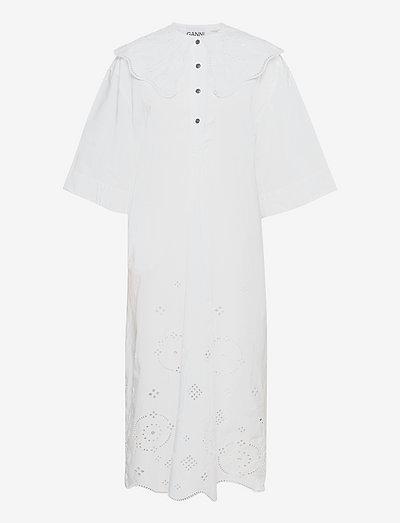 Broderie Anglaise - midi-kleider - bright white
