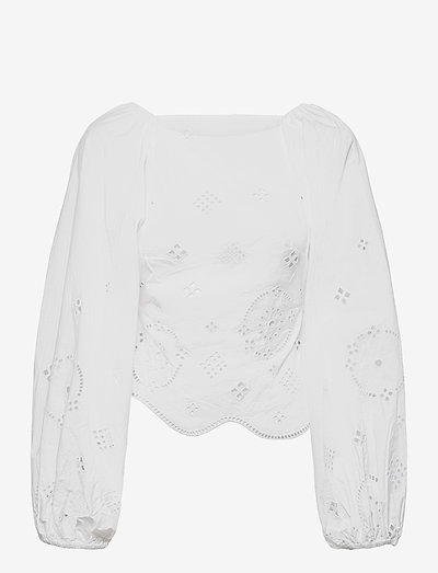 Broderie Anglaise - long sleeved blouses - bright white
