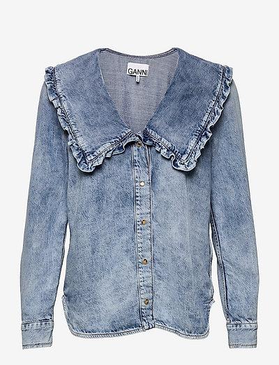Light Denim - long sleeved blouses - washed indigo