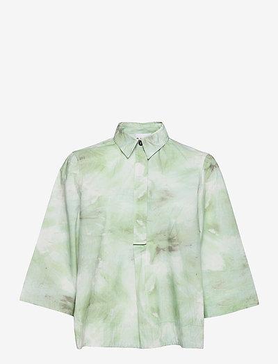 Printed Cotton Poplin - short-sleeved shirts - kelly green