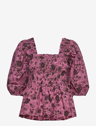 Printed Cotton Poplin - kortærmede bluser - shocking pink