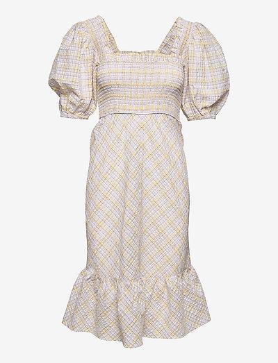Seersucker check - midi dresses - multicolour
