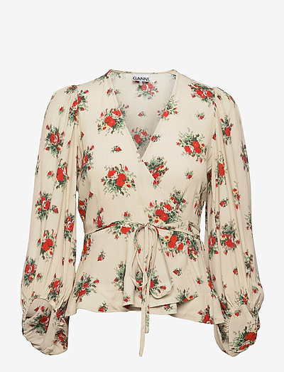 Printed Crepe - long sleeved blouses - tapioca