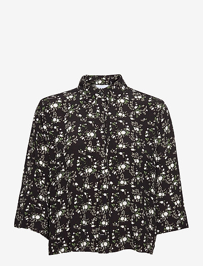 Printed Crepe - short-sleeved shirts - phantom
