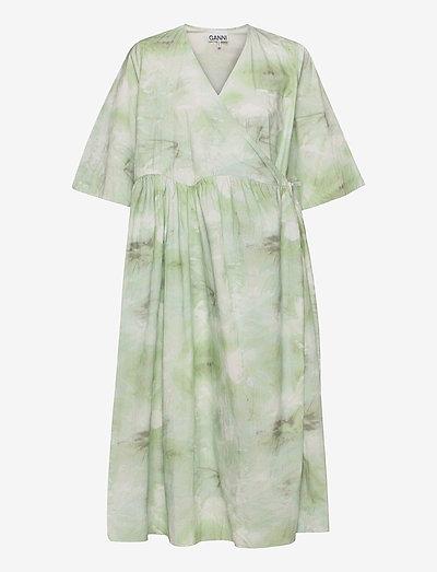 Printed Cotton Poplin - midi dresses - kelly green