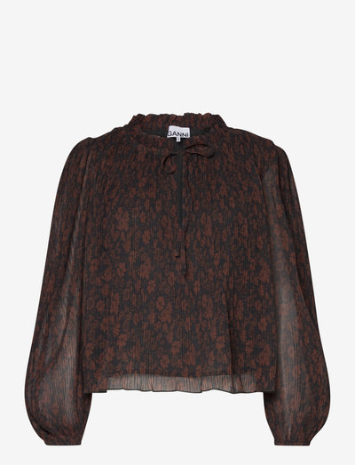 Pleated Georgette - long sleeved blouses - french roast