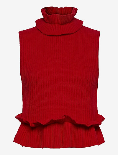 Rib Knit - strikveste - flame scarlet
