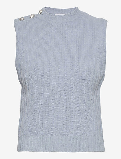 Wool Mix - knitted vests - airy blue