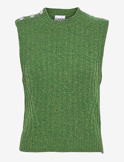 Wool Mix - strikveste - kelly green