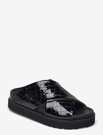 Belly Croc - flache sandalen - black