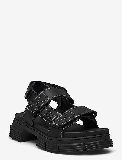 Recycled Rubber - płaskie sandały - black