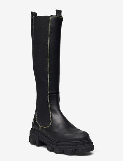Calf Leather - langskaftede - black